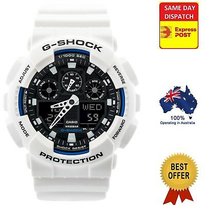 Casio G-Shock GA-100BW-1A Analogue/Digital Mens White and Black Series Watch