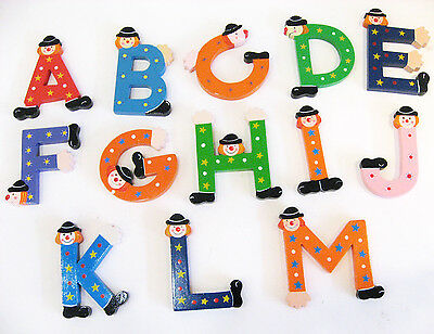 Wooden Alphabet Letters From B-Z(NO E) with Clown Head for Kids Room/Wall / Door