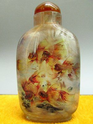 Chinese Natural Hair Crystal Inside-drawing Goldfish Pattern Snuff Bottle
