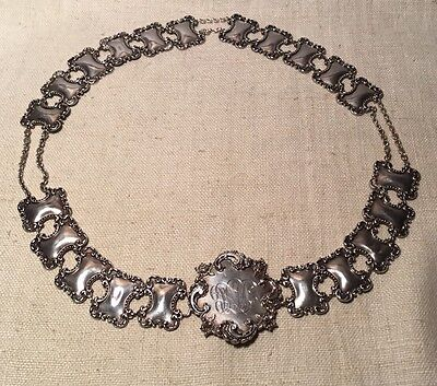 Antique Art Nouveau Sterling Silver Floral Ornate Unusual Chain Belt