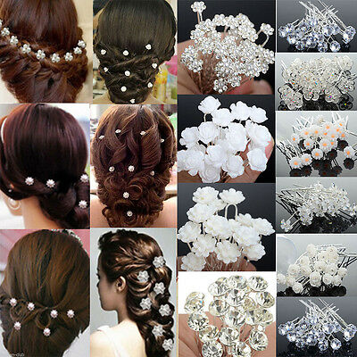 20/40Pcs Wedding Bridal Pearl Flower Crystal Hair Pins Clips Bridesmaid Jewelry