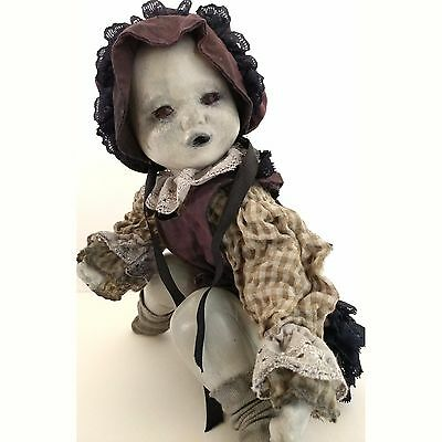 Scary Creepy Doll: Angry Baby With Bonnet, Haunted Face, Porcelain,