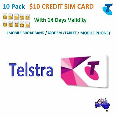 10 Pack TELSTRA $10 PREPAID CREDIT SIM CARD+14DAYS EXPIRY+STANDARD SIZE