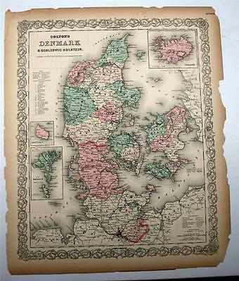 1855 - 1856 Colton's Antique Atlas Map Denmark & Schleswig-Holstein
