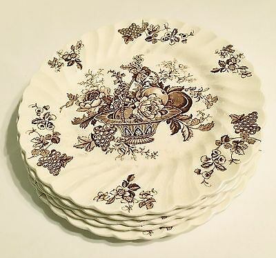 "FIVE Myott Staffordshire England Fine China 10 Inch Dinner Plates, ""Bountiful"""