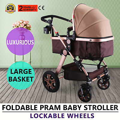 Foldable Pram Baby Stroller Carriage Infant Five-Point Harness Easy To Fold