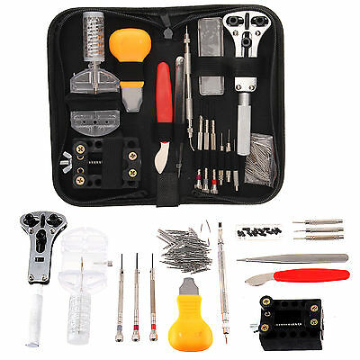 144Pcs Watch Repair Kit Set Wrist Strap Adjust Pin Tool Back Case Remover Opener