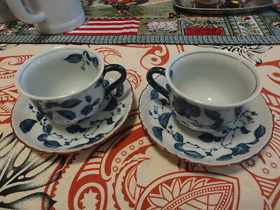 Cobalt Blue Hand Painted  Cups and Saucers (two)