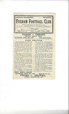 Fulham v Chelsea League South Football Programme 1945/46