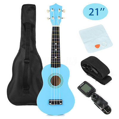 21'' Blue Ukulele Uke Musical Instrument Beginner Soprano Cuatro + Bag + Tuner