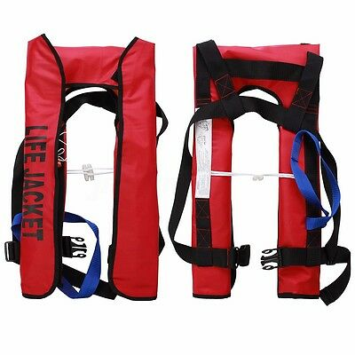 Adult Inflatable Aid Life Jacket Automatic Manual Buoyancy Sailing Boating Red