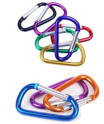 10x 6.5cm Carabiner Clip Key Ring Holder Chain Cable Hook Lock Camping D Shape