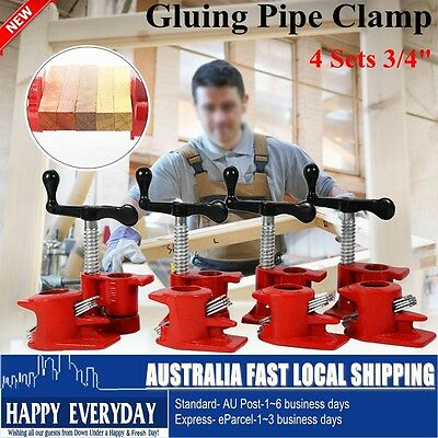 "3/4"" Gluing Pipe Clamp 4 Sets Woodworking Vice Hand Tools Tube Clamp Heavy Duty"