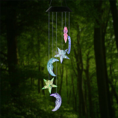 NEW Color Changing Clear Star & Moon LED Solar Wind Chime Spinner Mobile Lights