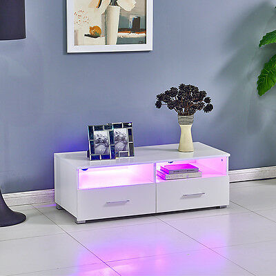 High Gloss MDF White TV Stand TV Unit Cabinet With Drawers & Shelves & FREE LED