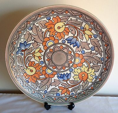 """Charlotte Rhead Signed Crown Ducal """"Ankara"""" Pattern Tube Lined Charger Plate"""