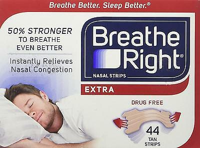 Breathe Right Extra Strong Nasal Strips One Size Fits All, Tan 44 ct