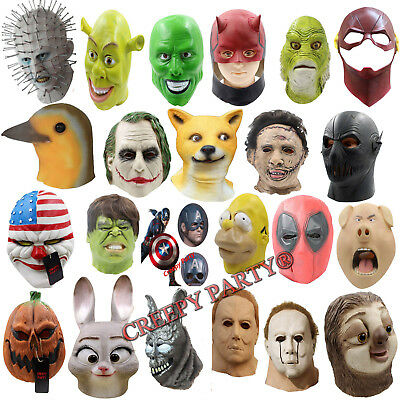 Movie Latex Mask Full Head Cosplay Horror Fancy Dress Halloween Party Adult Mask