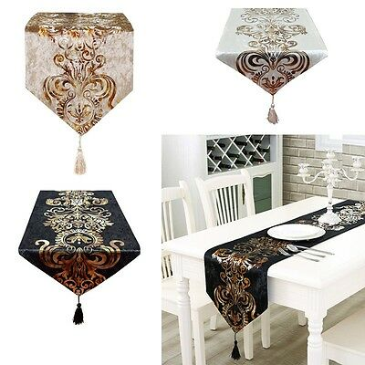 Gold Stamping Table Runner Table Cloth Flag Dining Room Party Decor 33*210cm UK