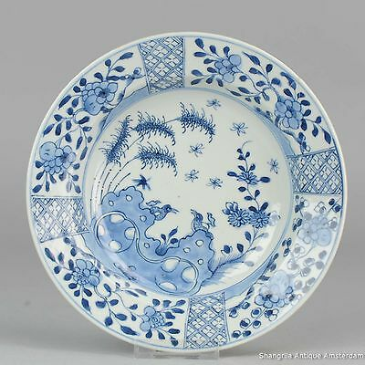 18C Chinese Porcelain Blue & White Plate Flowers Antique China Qing Butterfly