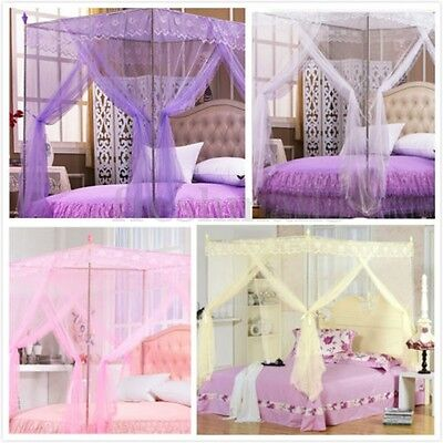 Princess Girls Four Corner Poster Bed Canopy Mosquito Netting Single 150x200cm