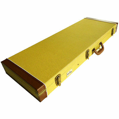 Deluxe Electric Guitar Hard Case Vintage Gold Tweed Fabric Bronze Latches Lock