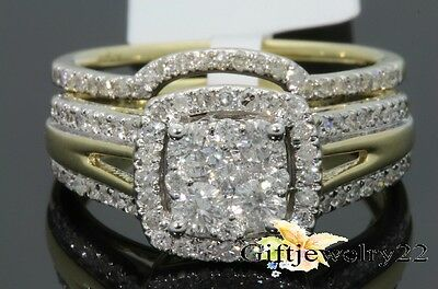 14K Yellow Gold Wedding Bridal Engagement Round VVS1 Diamond Ring Set 1.42 Ct