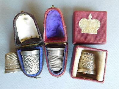 AUC10 4 Antique English Sterling Silver Thimbles 3 Boxed & Coronation 17 Grams.