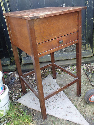 """VINTAGE OAK SEWING BOX, WORK TABLE 15""""Sq X 27""""H. RETRO, UPCYCLE"""