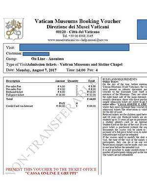 Vatican Museums and Sistine Chapel tickets 2 adults 2 kids