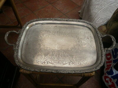 Antique Vintage Large Very Ornate Silver Heavy Plate 2 Handle Tray Harts England