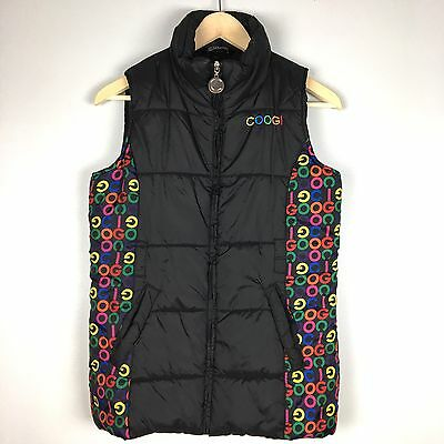 Women's COOGI Black Sleeveless Zip Front Puffer Vest Colorful COOGI Spellout XL
