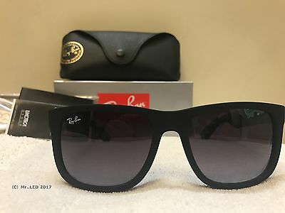 Ray-ban RB4165 Justin 601/8G 54-16 Gray Gradient Sunglasses Rubber Black 54MM