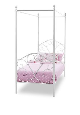 Isabelle 3ft 90cm Metal Four Poster Post Bed - Single - White