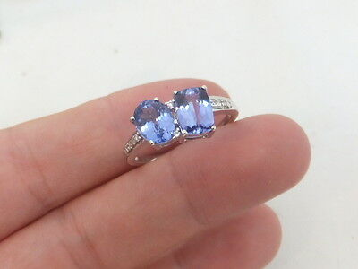 Fine 2 stone tanzanite diamond 14ct white gold ring CR 14k 585