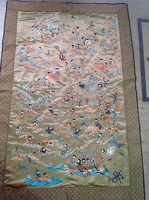 Antique Chinese Silk Hundred Children Hand Embroidery Wall Hang Stoical Art