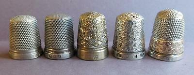 AUC2 5 Beautiful Antique English Sterling Silver & Gold plated Thimbles 17 Grams