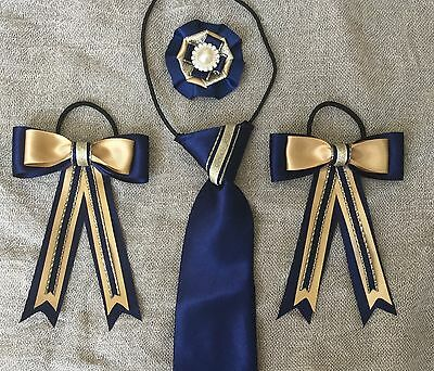 childs equestrian showing set - show tie and bows In NAVY & GOLD + Buttonhole