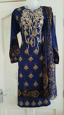 Stunning Summer Asian 3pc gul ahmed inspired Royal Blue Shalwar kameez  RRP £50