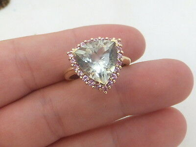 Fine green pink amethyst large heavy 9ct gold ring 9k 375