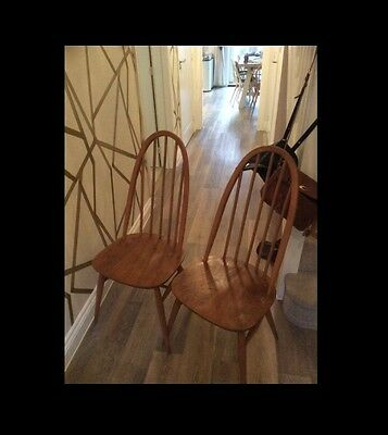 Ercol Pair Dining Chairs Stick Back Windsor