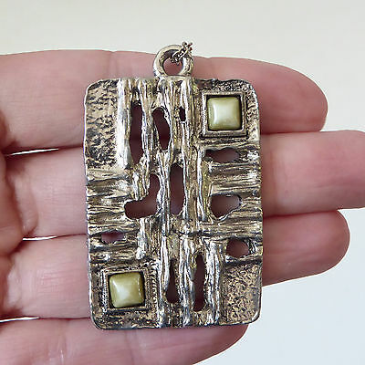 Silver tone Brutalist pendant/necklace. Modernist 70s rectangular+stone. Stamped