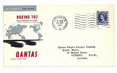 BG119 1959 GB London AUSTRALIA Sydney QANTAS First Flight Airmail Cover 707
