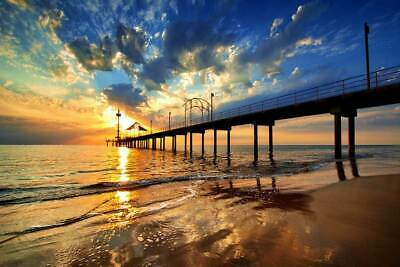 Pier At Sunrise Landscape Poster Wall Print Room Decoration Pictures