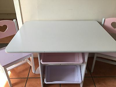 Children table and two chairs With Storage