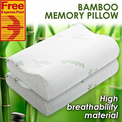 (Free Express) 2x Pack Luxury Bamboo Memory Foam Contour Pillow + Cover 50x30cm