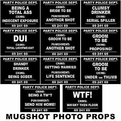 Mugshot Signs Photo Props Stag Do Hen Night Out Funny Criminals 11 Piece Set