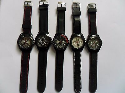 Job Lot of  FIVE  Very Smart Large Sports  WATCHES  NEW Watches Black Straps c
