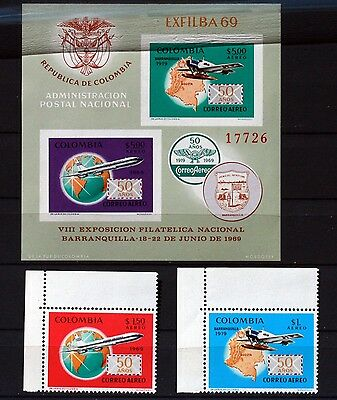 Colombia C516 MNH 50th Ann. of the 1st air post flight 1969 Plane Globe 88M585