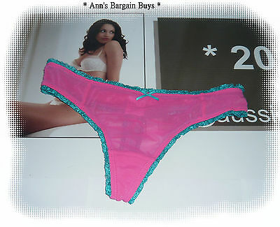 HOT OPTIONS * Ladies-Size 12-Sheer Lace-G String-Hot Pink / Teal-Sexy!!-BNWT
